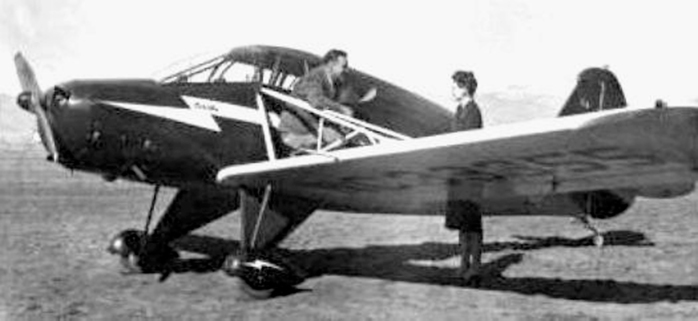 Kenneth Arnold with his CallAir A-2 mountain plane.