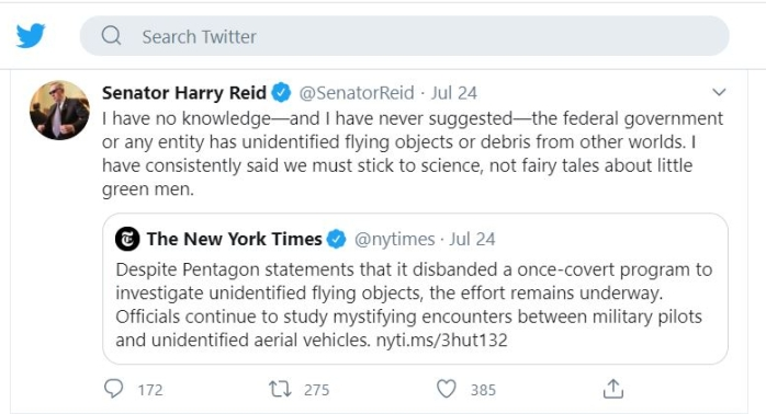 Harry Reid Tweet